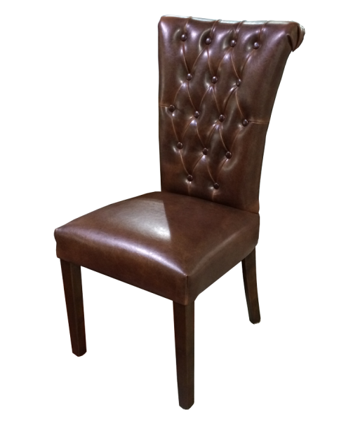 French Provincial Dining Chair In Vintage Brown Leather