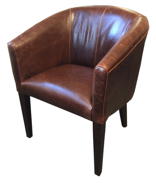 Vintage Brown Leather Tub Chair