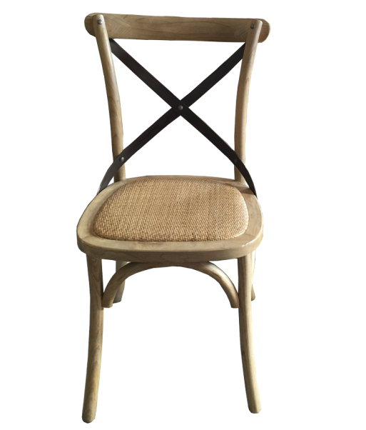 Metal Cross Back Chair Natural Oak